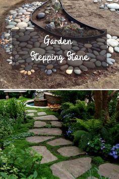 Creative DIY stepping stones projects #diygardenstones Garden Steps, Easy Garden, Amazing Gardens, Beautiful Gardens, Garden Stepping Stones, Backyard, Landscape, Outdoor Decor, Diy