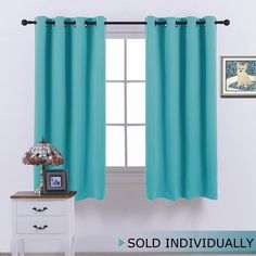 Amazon.com: Room Darkening Blackout Curtain Blind - Modern Design Light Reducing & Privacy Protection Short Window Drape / Drapery for Kid's Room by NICETOWN, 52x95-Inch, 1 Piece: Home & Kitchen