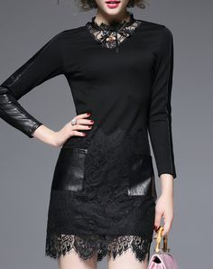#AdoreWe #VIPme Sheath Dresses - LVENZSE Black Cut-out Lace Insert Long Sleeve Mini Dress - AdoreWe.com