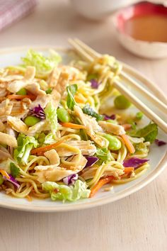 Asian Noodle Salad | Safeway - Chow mein noodles mixed with Signature Farms Asian sesame chopped salad and topped with sliced grilled chicken make a great cold salad perfect for when you're short on time and need to make a quick lunch.