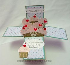 """This is last night's stamp club project! My hostess really wanted to learn how to make a """"Card in a Box' and I was happy to help them ALL learn to make one! With all these cupcakes on each card, ..."""