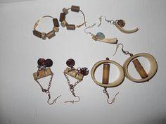 Lot pierced earrings handmade 2000 bamboo and shells 4 pairs