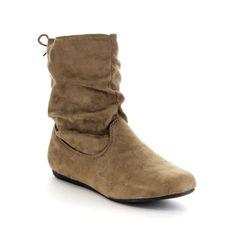 Beston GA42 Women's Stylish Slouch Side Zipper Flat Heel Mid Calf Boots (-5.5)