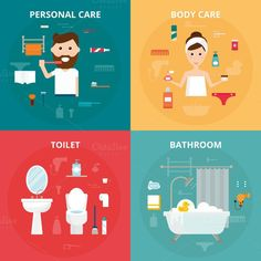 Man and woman hygiene icons vector. Human Icons. $5.00