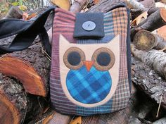 Owl crossbody totebag recycled wool by granniesraggedybags on Etsy, $28.00