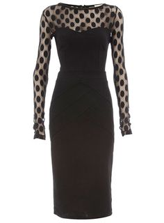 Totally inspired by Stella McCartney's collection!  Black spot mesh ponte dress  Price: $55.00  Color: BLACK