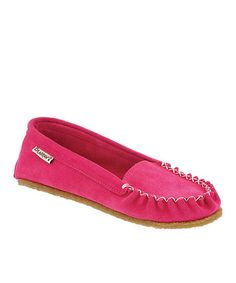 Look what I found on #zulily! Electric Pink Suede Hanna Moccasin by BEARPAW #zulilyfinds