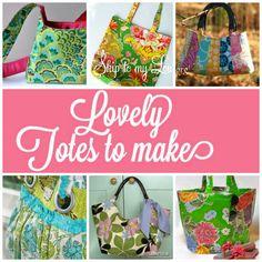 Six free tote bag sewing tutorials! www.skiptomylou.org