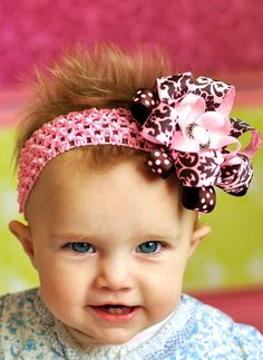 pink and brown hair bow...baby bow...lovely newborn hairbow for infant, toddler and little girls..baby bow. $10.99, via Etsy.