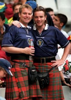 Colin and Ewan McGregor kilted Scottish brothers!