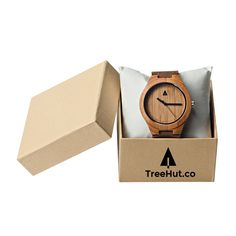 Amazon.com: Treehut Mens Wooden Bamboo Watch with Genuine Brown Leather Strap Quartz Analog with Quality Miyota Movement, 1.7 inches: Tree Hut: Watches