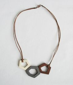 grey brown wooden necklace  small by OtinyuO on Etsy