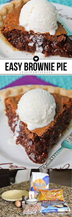 This brownie pie, called Tar Heel Pie, is amazing!  So rich, and full of chocolate, yet super easy to make.  Great Tar Heel Pie recipe!