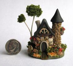 Handmade Miniature -  FIELDSTONE & STONE TOWER  FAIRY HOUSE - by C. Rohal #CRohal