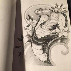 Cobra tattoo design by Shane Ford. Snake Drawing, Snake Art, Snake Painting, Tattoo Sketches, Tattoo Drawings, Art Drawings, Tattoo Art, Kobra Tattoo, Body Art Tattoos