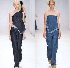 Marques' Almeida 2014 Spring Summer Womens Runway Collection - London Fashion Week - Marta Marques and Paulo Almeida - Frayed Denim Jeans Ha...