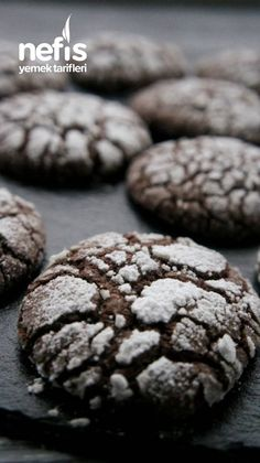 Cracked Cookies with Cocoa - Yummy Recipes - İkosun_Mutfağı, Dessert recipes Dinner Recipes, Dessert Recipes, Desserts, Yummy Recipes, Cracked Cookies, Cocoa Cookies, Time To Eat, Homemade Beauty Products, Diy Food