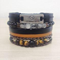 Kit 4 Pulseiras Masculinas Signos Couro Pedras Naturais mens bracelets fashion style cocar brasil