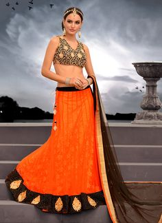 Gambling Orange Net Bridal Lehenga Choli | Wedding Lehenga Choli | Designer Lehenga Choli | Item Code: 2904
