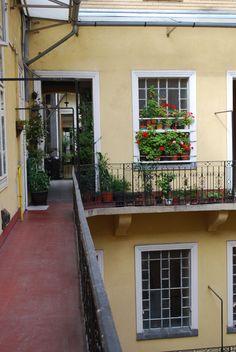 Courtyard in Budapest, Hungary, original photo, Debra Newton