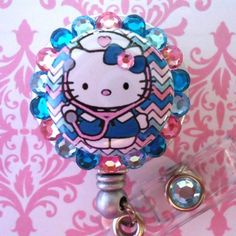 I love these handmade badge holders. These are sure to brighten up my scrubs. :) I love anything Hello Kitty-- KITTY NURSE ID Reel Badge Holder Nurse Badge, Id Badge, Nursing Board, Nursing Accessories, Were All Mad Here, Medical Assistant, Nurse Stuff, Sanrio Hello Kitty, Stethoscope