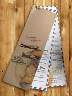 Menu de mariage en papier recyclé theme voyage, explorateur Wedding menu, recycled paper, travel theme, airmail style