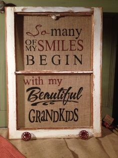 Love doing old windows.. Burlap and stencils!