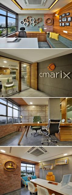 CMARIX Technolabs Office Interiors - CMARIX Technolabs Office Interiors Check out Full project : office interior ,create a very stress-free, comfortable, open and lively working environment Corporate Office Design, Office Cabin Design, Office Space Design, Modern Office Design, Office Interior Design, Modern House Design, Office Designs, Modern Offices, Bar Designs