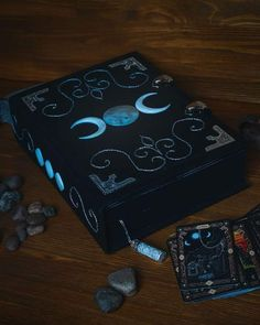 big black book of shadows with with triune moon – erasmus Wicca Witchcraft, Magick, Pagan Witch, Grimoire Book, Buch Design, Magical Jewelry, Witch Aesthetic, Magic Book, Handmade Books