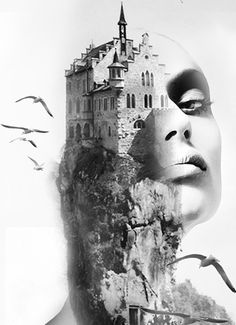 ♥ The castle - Antonio Mora Double exposure photography Creative Photography, Art Photography, Montage Photography, Photography Editing, Photography Tutorials, Digital Photography, Photoshop Art, Exposition Photo, Art Visage