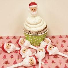 Santa Claus CupCakeToppers, 12 Cupcake Baking Party, Cupcake Decorations, Christmas parties, Holiday baking, Party Favors
