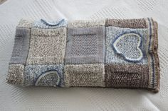 Knitted, afghan multicolor baby blanket with a heart pattern and shades of  white, blue,brown and beige colors. Patchwork style. on Etsy, $120.00