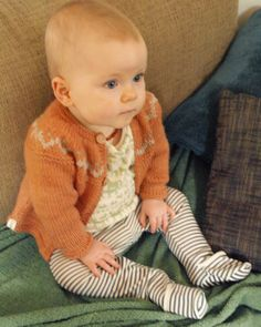 Hand Knitted Unisex Baby Cardigan Wool & Silk Orange by fablebaby