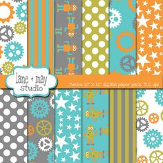 mr. robot and gears in orange, blue, green and gray digital scrapbook papers