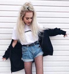 White tee with blouse, denim shorts & fishnet stockings by agastachurska