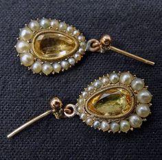 Antique Earrings Topaz Drop Earrings w Seed by BestOldJewelry