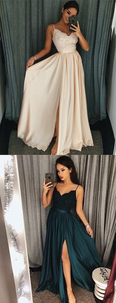 simple spaghetti straps long prom dresses, cheap a line lace chiffon prom party gowns, summer dress