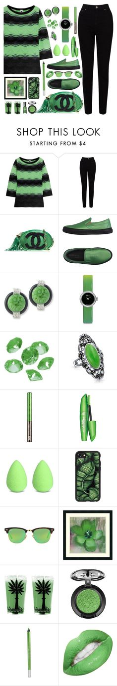 """""""GREEN AND BLACK"""" by purplerose27 ❤ liked on Polyvore featuring M Missoni, EAST, Chanel, Boemos, Kenneth Jay Lane, Christian Dior, Blue La Rue, Bling Jewelry, Urban Decay and beautyblender"""