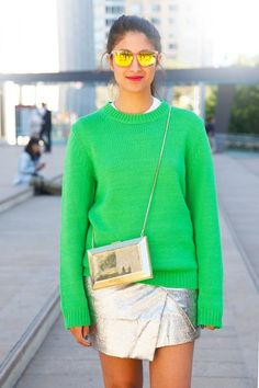 NYFW-STREET-STYLE-NEW-YORK-FASHION-WEEK-SS-2013-SPRING-SUMMER-PREETMA-VOGUE-GOLD-BOX-CROSSBODY-BAG-BRIGHT-GREEN-SWEATER-SILVER-ASSYMETRICAL-SPLIT-SKIRT-MIRRORED-SUNGLASSES-VIA-ELLE-MAGAZINE-