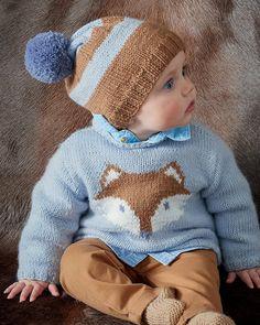 Patron pull bébé motif renard / Knitting Pattern for baby Baby Boy Knitting Patterns, Baby Sweater Knitting Pattern, Baby Hats Knitting, Knitting For Kids, Knitting Designs, Baby Pullover, Baby Cardigan, Baby Vest, Crochet Shoes Pattern