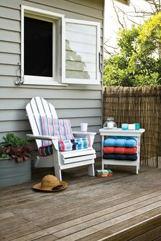 Morgan & Finch Adirondack chair and side table #bedbathntable