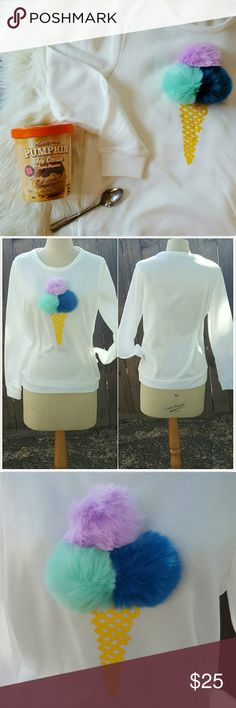 ICE CREAM POM POM pullover BNWOT. Detachable pom poms! Adorable cone silkscreen print in yellow. Fleecy insides, so cozy.  Measurements to come!  If you wear US4 or US6, order S (sweater will be marked Asian M). If you wear US8 or US10, order M. (sweater will be marked Asian L). ** bundle for a 15% off your entire order! ** Sweaters Crew & Scoop Necks