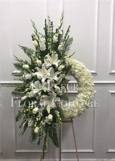 Send White Sympathy Unique Wreath in Los Angeles, CA from Calvary Flower Shop, the best florist in Los Angeles. All flowers are hand delivered and same day delivery may be available. Funeral Floral Arrangements, Creative Flower Arrangements, Church Flower Arrangements, Church Flowers, Beautiful Flower Arrangements, Funeral Flowers, Flower Wreath Funeral, Flowers Garden, Funeral Caskets