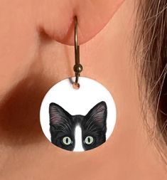 Cat Earrings, Tuxedo Cat Earrings, Choose from Black, Gray, or Orange Tuxedo