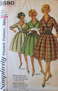 Vintage Sewing Pattern - 1960s Dress Pattern - Simplicity 3580