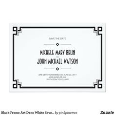 Black Frame Art Deco White Save the Date Card