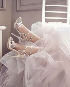 Say #idoinchoo in the stunning #JimmyChoo FAYME #bridal sandals with exquisite lace details.