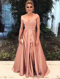 Elegant A-Line V-Neck Beading Sashes Split-Front Floor-Length Evening Dress