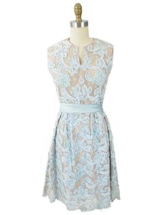 Vintage Blue 1960s Embroidered Lace Party Dress  #1960sDress #PartyDress #AuthenticVintage
