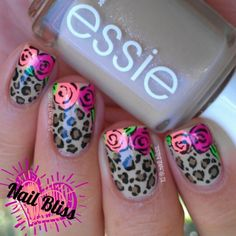 Roses and leopard print nails